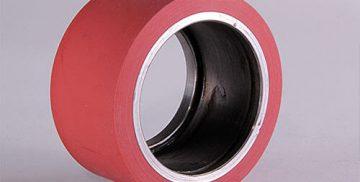 Obnova Poliuretanskih valjev, primer v rdeči barvi